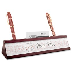 Wedding People Red Mahogany Nameplate with Business Card Holder (Personalized)