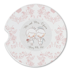 Wedding People Sandstone Car Coasters (Personalized)