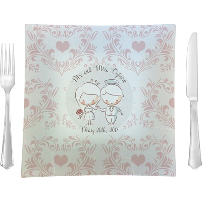 """Wedding People 9.5"""" Glass Square Lunch / Dinner Plate- Single or Set of 4 (Personalized)"""