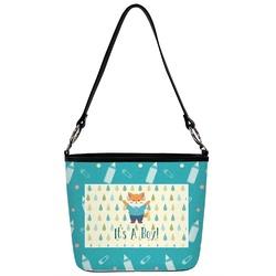 Baby Shower Bucket Bag w/ Genuine Leather Trim (Personalized)
