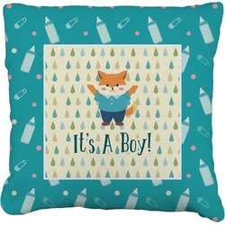Baby Shower Faux-Linen Throw Pillow (Personalized)