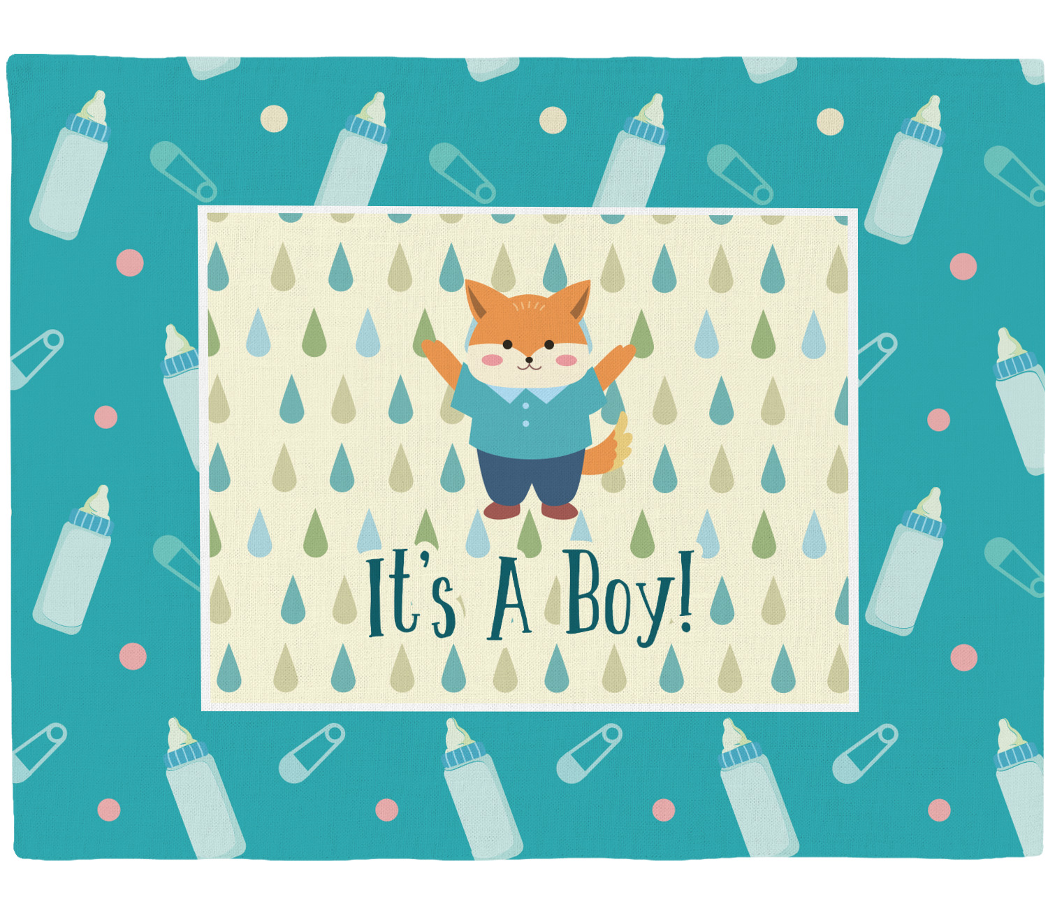 Baby shower placemat fabric personalized you for Baby themed fabric