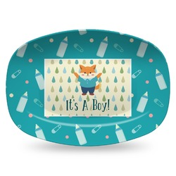 Baby Shower Plastic Platter - Microwave & Oven Safe Composite Polymer (Personalized)