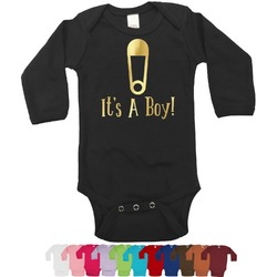 Baby Shower Foil Bodysuit - Long Sleeves - Gold, Silver or Rose Gold (Personalized)