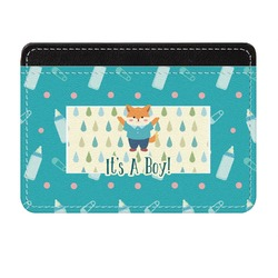 Baby Shower Genuine Leather Front Pocket Wallet (Personalized)