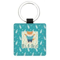 Baby Shower Genuine Leather Rectangular Keychain (Personalized)