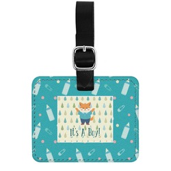 Baby Shower Genuine Leather Rectangular  Luggage Tag (Personalized)
