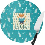 Baby Shower Round Glass Cutting Board (Personalized)