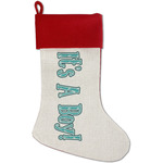 Baby Shower Red Linen Stocking