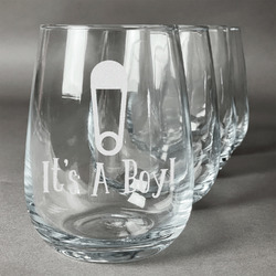 Baby Shower Wine Glasses (Stemless- Set of 4) (Personalized)