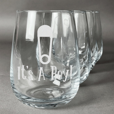 Baby Shower Stemless Wine Glasses (Set of 4) (Personalized)