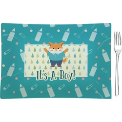 Baby Shower Glass Rectangular Appetizer / Dessert Plate - Single or Set (Personalized)