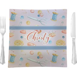 """Sewing Time 9.5"""" Glass Square Lunch / Dinner Plate- Single or Set of 4 (Personalized)"""