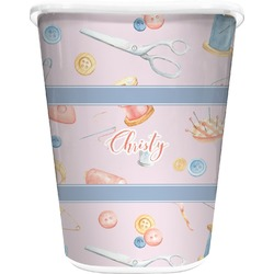 Sewing Time Waste Basket - Double Sided (White) (Personalized)