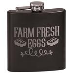 Farm Quotes Black Flask Set (Personalized)