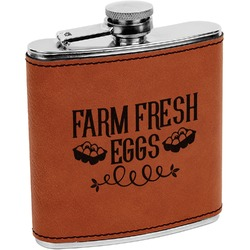 Farm Quotes Leatherette Wrapped Stainless Steel Flask (Personalized)