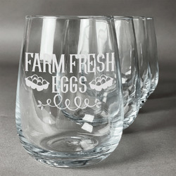Farm Quotes Stemless Wine Glasses (Set of 4) (Personalized)