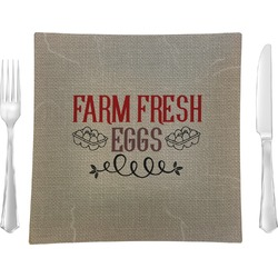 """Farm Quotes 9.5"""" Glass Square Lunch / Dinner Plate- Single or Set of 4 (Personalized)"""