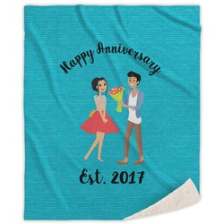 Happy Anniversary Sherpa Throw Blanket (Personalized)