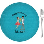 "Happy Anniversary Glass Appetizer / Dessert Plates 8"" - Single or Set (Personalized)"