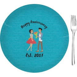 "Happy Anniversary 8"" Glass Appetizer / Dessert Plates - Single or Set (Personalized)"