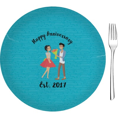 """Happy Anniversary 8"""" Glass Appetizer / Dessert Plates - Single or Set (Personalized)"""