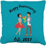 Happy Anniversary Faux-Linen Throw Pillow (Personalized)