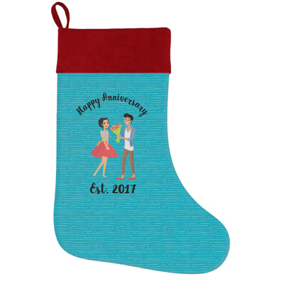 Happy Anniversary Holiday Stocking w/ Couple's Names