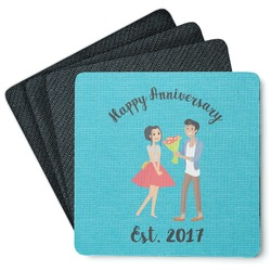 Happy Anniversary Square Rubber Backed Coasters - Set of 4 (Personalized)