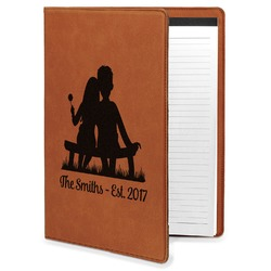 Happy Anniversary Leatherette Portfolio with Notepad - Large - Single Sided (Personalized)