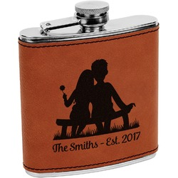Happy Anniversary Leatherette Wrapped Stainless Steel Flask (Personalized)