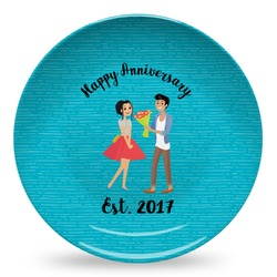Happy Anniversary Microwave Safe Plastic Plate - Composite Polymer (Personalized)
