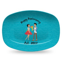 Happy Anniversary Plastic Platter - Microwave & Oven Safe Composite Polymer (Personalized)