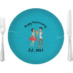 "Happy Anniversary Glass Lunch / Dinner Plates 10"" - Single or Set (Personalized)"