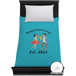 Happy Anniversary Duvet Cover - Twin (Personalized)