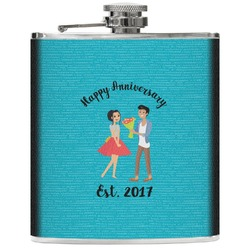 Happy Anniversary Genuine Leather Flask (Personalized)