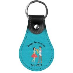Happy Anniversary Genuine Leather  Keychain (Personalized)