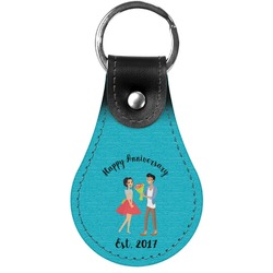 Happy Anniversary Genuine Leather  Keychain (Personalized)