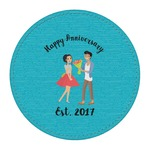 Happy Anniversary Round Desk Weight - Genuine Leather  (Personalized)