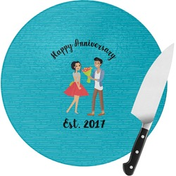 Happy Anniversary Round Glass Cutting Board (Personalized)