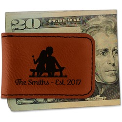 Happy Anniversary Leatherette Magnetic Money Clip (Personalized)