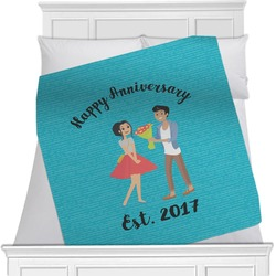"""Happy Anniversary Fleece Blanket - Queen / King - 90""""x90"""" - Double Sided (Personalized)"""