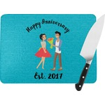 Happy Anniversary Rectangular Glass Cutting Board (Personalized)