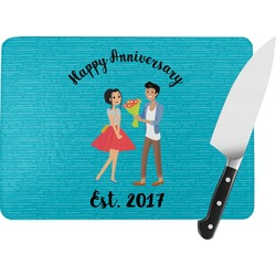 Happy Anniversary Rectangular Glass Cutting Board (Personalized)