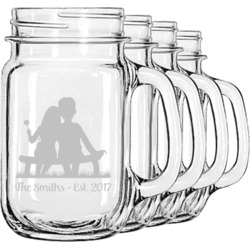 Happy Anniversary Mason Jar Mugs (Set of 4) (Personalized)