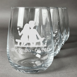 Happy Anniversary Wine Glasses (Stemless- Set of 4) (Personalized)