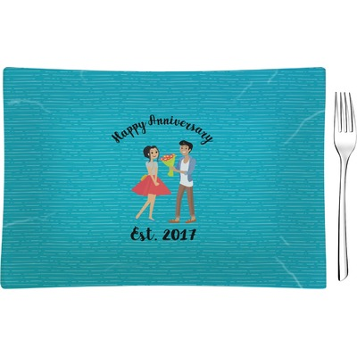Happy Anniversary Rectangular Glass Appetizer / Dessert Plate - Single or Set (Personalized)