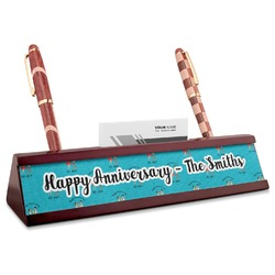 Happy Anniversary Red Mahogany Nameplate with Business Card Holder (Personalized)