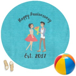 Happy Anniversary Round Beach Towel (Personalized)