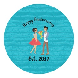 Happy Anniversary Round Decal - Custom Size (Personalized)